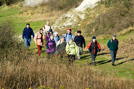 Group of Ramblers, Aberthaw Saltmarsh, Vale of Glamorgan, South Wales, UK.