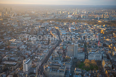 Aerial view of London, Cavendish Square and Oxford Street, Marylebone.
