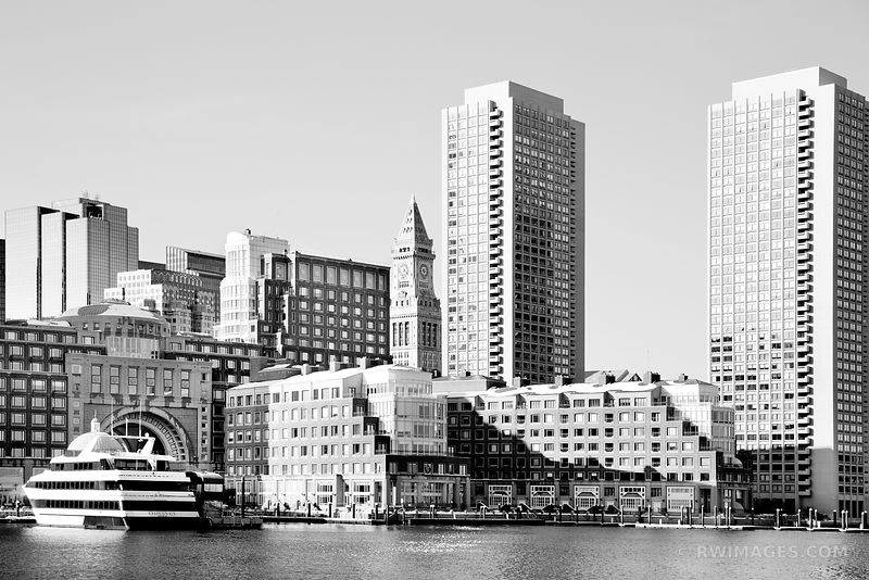BOSTON HARBOR ROWES WHARF BLACK AND WHITE