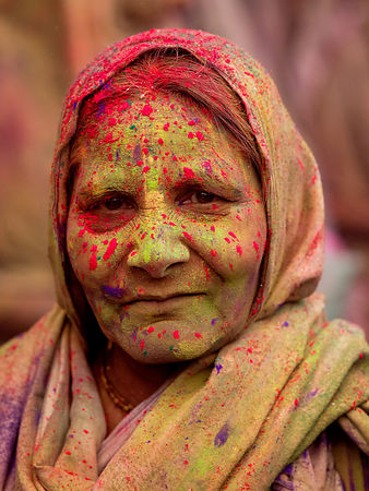 This portrait of an old widow was shot during the holi celebrations at the Gopinath temple in Vrindavan.