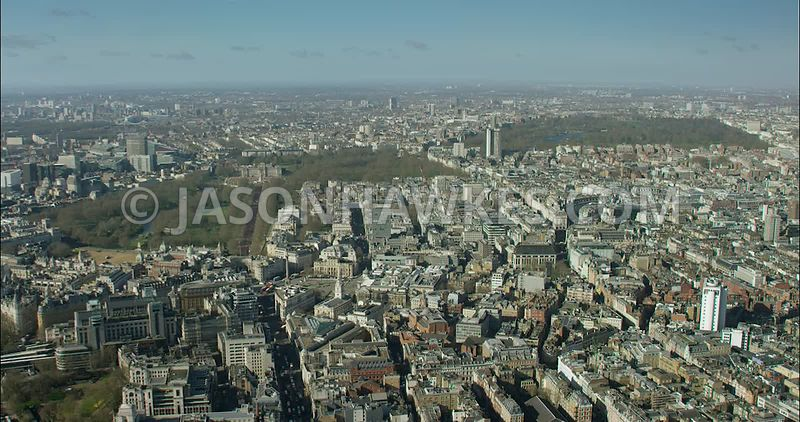 London Aerial Footage of Strand towards Piccadilly Circus.