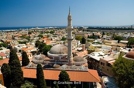 suleyman mosque from the clock tower, rhodes old town, dodecanses islands, Greece.