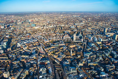 Aerial view of London, Clerkenwell with Finsbury towards Pentonville.