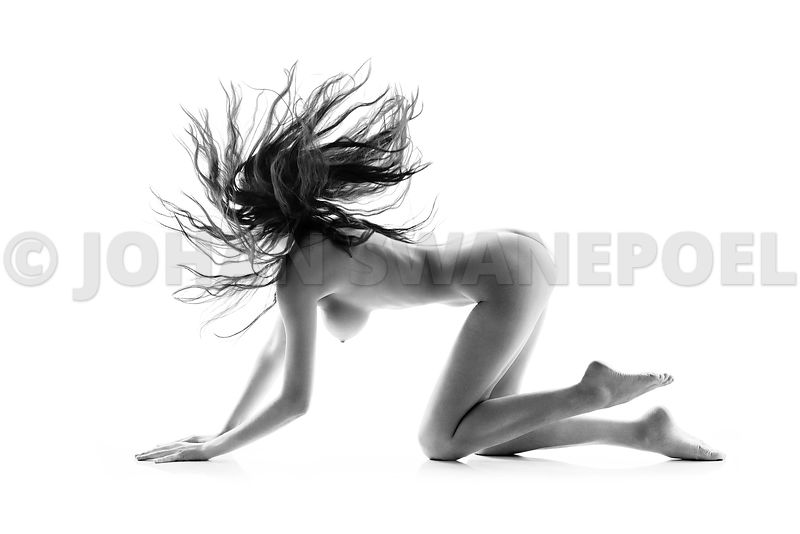 Nude with waving hair