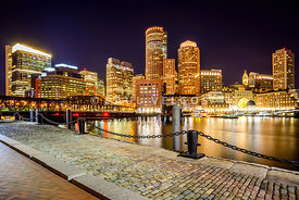 Boston Skyline at Night and Harborwalk Picture