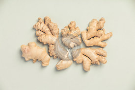 Ginger root on concrete background