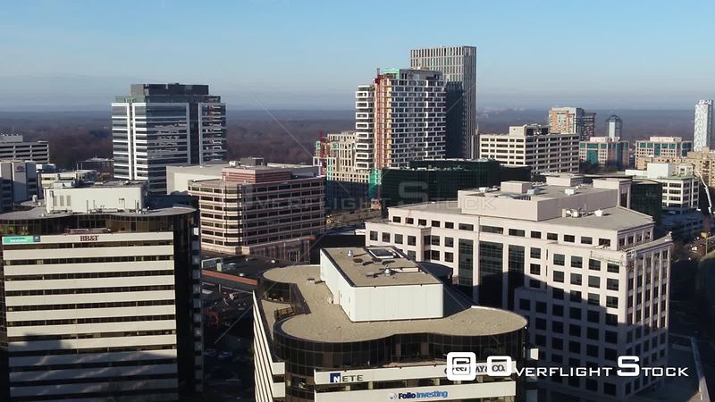 Tysons, Virginia, USA. Slow pan right to left across the Tysons Corner skyline in the morning.