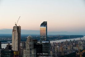 A view of the Upper West Side in late evening light as seen from top of the Rockefeller Center in New York City