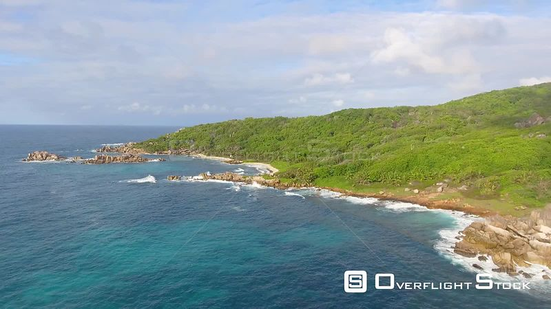 Aerial view of Grande Anse in La Digue Island – Seychelles