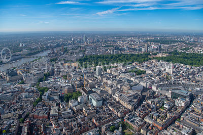 London, aerial view of the West End