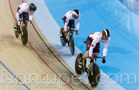 Men's Team Sprint Qualification, Track Day 1, Toronto 2015 Pan Am Games, Milton Pan Am/Parapan Am Velodrome, Milton, On; July 16, 2015