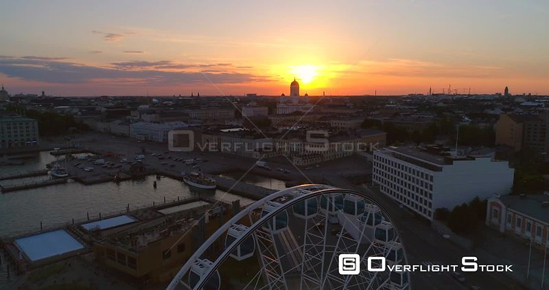Sunset Cityscape, Aerial View of the Market Square, the Cathedral, Kruununhaka and the South Harbour, on a Sunny Summer Evening Dusk, in Helsinki, Uusimaa, Finland