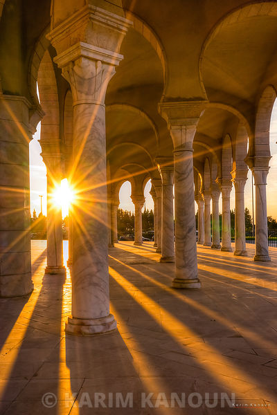 Carthage sunshine behind traditional architecture columns