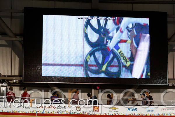 Women's Omnium Elimination Race. Track Day 3, Toronto 2015 Pan Am Games, Milton Pan Am/Parapan Am Velodrome, Milton, On; July 18, 2015