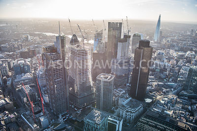 City of London, aerial view. 22 Bishopsgate, 100 Bishopsgate, City of London, Heron Tower, Natwest Tower, tower 42.