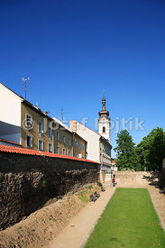 Hradebni Street and the tower of the Deanery Church o the Virgin Mary Birth, Pisek, Czech Republic