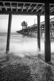 Under San Clemente Pier Black and White Photo