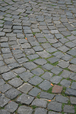 Street cobble stones close to the Sacre Coeur, Paris, France
