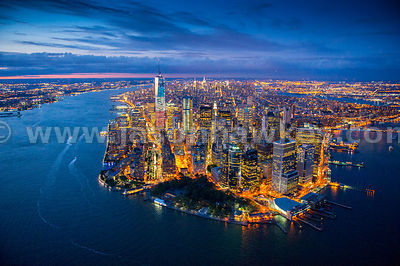 Aerial view of Battery Park and Financial District, Manhattan, New York at night