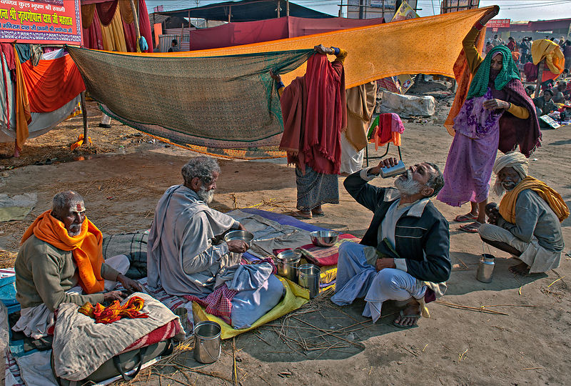 This photograph of the pilgrims doing their daily chores during the Kumbh Mela  was shot in Allahabad.