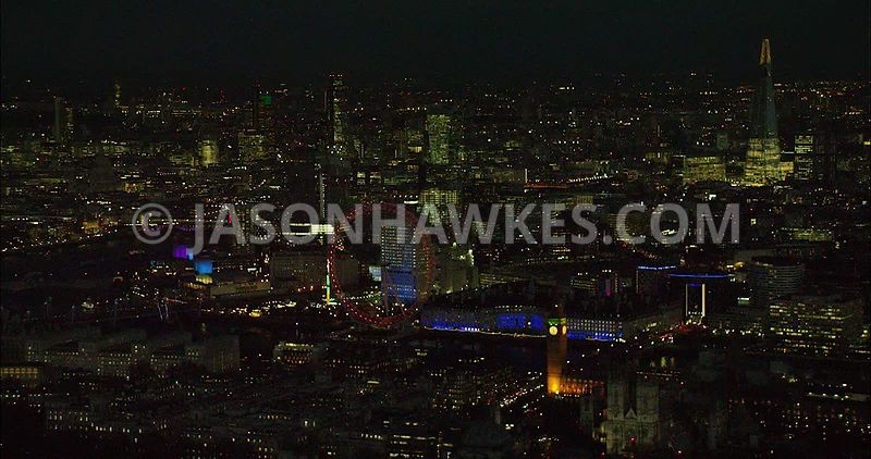 London Aerial Footage of Westminster with Big Ben.