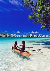 Children in an outrigger Vanuatu