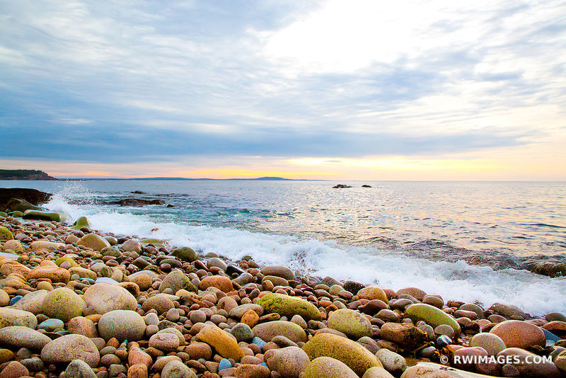ROUND BOULDERS AT THE ROCKY BEACH OTTER COVE ACADIA NATIONAL PARK BDEFORE SUNRISE
