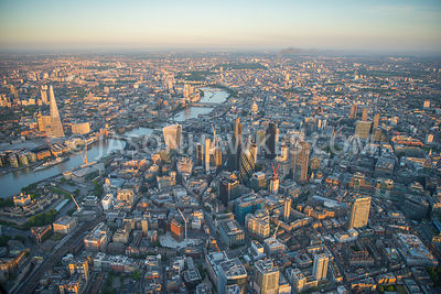 Aerial view of London The Shard with Financial buildings and River Thames