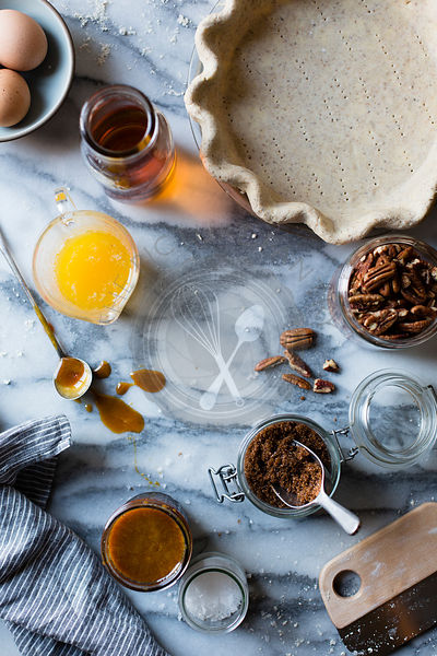 Ingredients for a pecan pie.