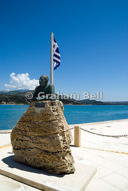 Statue of popular Greek poet and writer Nikos Kavadias, Harbour side, Argostoli, Kefalonia, Ionian Islands, Greece.