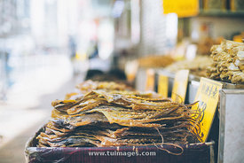dried octopus in seafood street of hong kong
