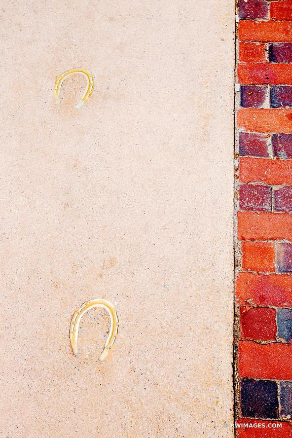 HORSESHOES IN SIDEWALK HARVARD SQUARE CAMBRIDGE MASSACHUSETTS