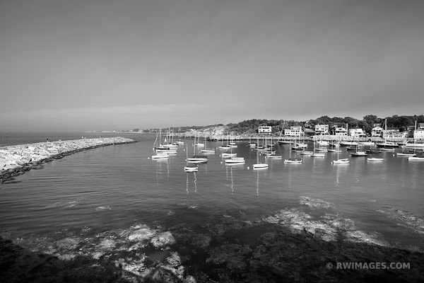 ROCKPORT HARBOR CAPE ANN MASSACHUSETTS BLACK AND WHITE