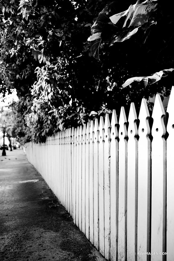 WHITE WOODEN FENCE KEY WEST FLORIDA BLACK AND WHITE VERTICAL
