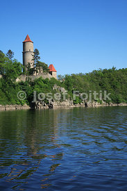 Zvikov Castle at the Orlik artifical lake on the Vltava River, Czech Republic