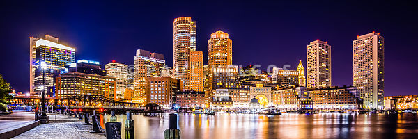 Boston Skyline at Night Panorama Picture