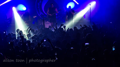 Audience and light show at sold-out Killswitch Engage show, Ace of Spades, Sacramento