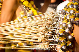 hooks on back, body piercing of Thaipusam festival at Malaysia