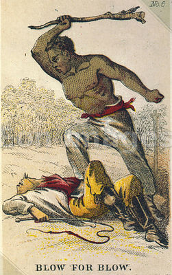 Card depicting rebellious slave