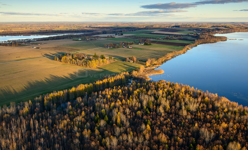 Aerial view of autumn in Vooremaa Landscape Reserve. Saadjarv and Soitsjarv Lakes, Tartumaa, Estonia. October 2013.