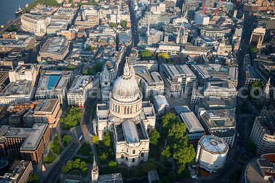 Aerial view of St Paul's Cathedral and Paternoster Square, London