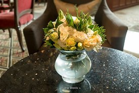 A bunch of flowers on the table at the Mandarin Oriental Hotel lounge in Bangkok, Thailand.