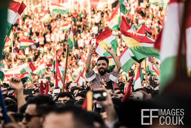 Flag Fever at the final Kurdish Independence Referendum rally at the packed out Franso Hariri Stadium in Erbil. 22nd September 2017. Elizabeth Fitt