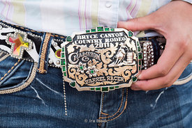 Cowgirl's belt buckle at Bryce Canyon Country Rodeo in Utah.