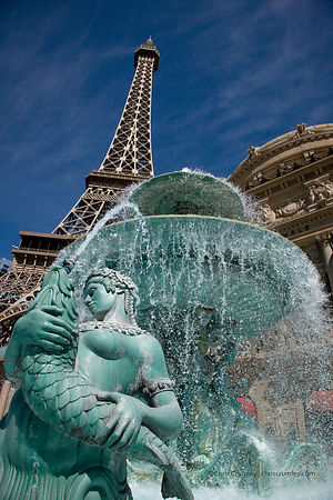 Fountain near the Effiel Tower (Paris-Paris) on the Las Vegas Strip, Las Vegas, Nevada, NV