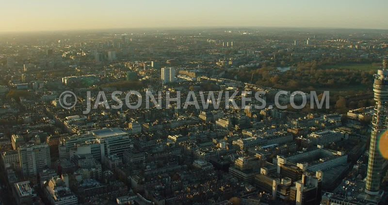 Aerial footage of Marylebone and the BT Tower