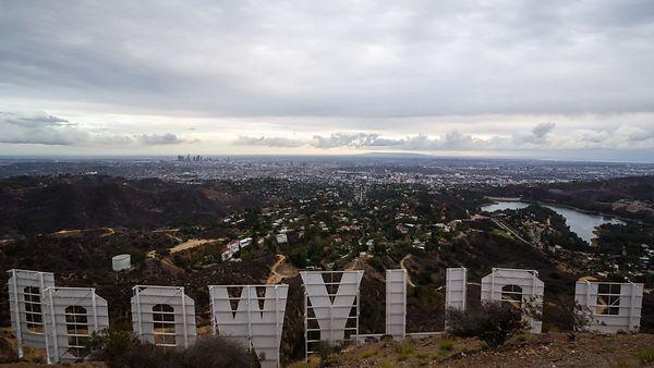 Bird's Eye of Los Angeles From The Hollywood Sign's Point Of View (Cloud Covered Sunset)