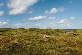 Danish woman and girl together in the dunes in Thy 3