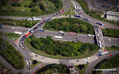 aerial photograph of junction 10 on the M6 motorway at Walsall West Midlands    England UK