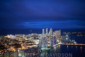 Aerial USA Florida Miami Skyline evening
